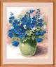Синие цветы в вазе. Набор для вышивания